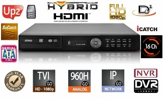 8 Channels HD Hybrid Security Recorder//NVR TVI//960H//IP//Cloud//Mobile//Audio